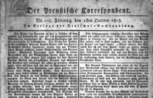 Titelblatt des Preußischen Correspondenten.